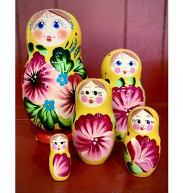 Floral Matryoshka with Yellow Scarf