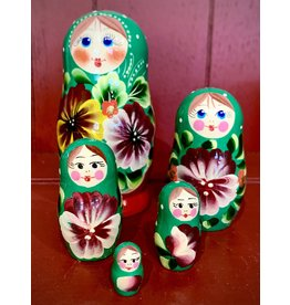 Floral Matryoshka with Bright Green Scarf
