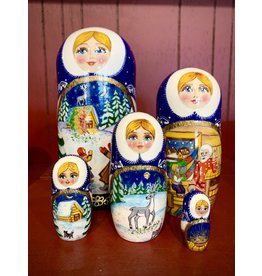 "Holiday Matryoshka with ""Silver Deer"" Fairy Tale"