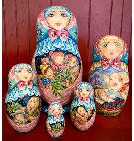Winter Matryoshka with Festive Children