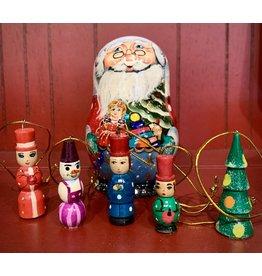 Santa Matryoshka with Toy Ornaments