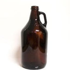 64 oz  (1/2 gal) Glass Jug  - Amber - Case of 6
