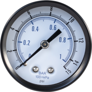 Pressure Gauge (Back Mount) - Low Pressure (0-15 psi)