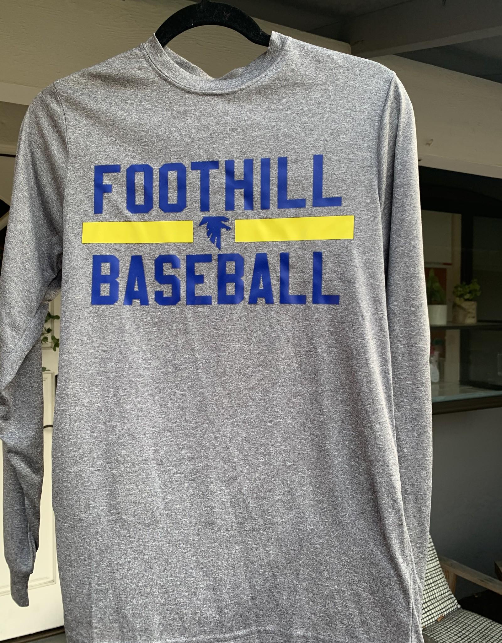 Grey Long-sleeve Foothill Baseball Shirt