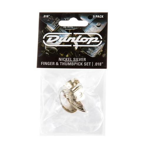 "Dunlop Dunlop Nickel Silver Finger & Thumbpicks, .018"" Player's Pack"