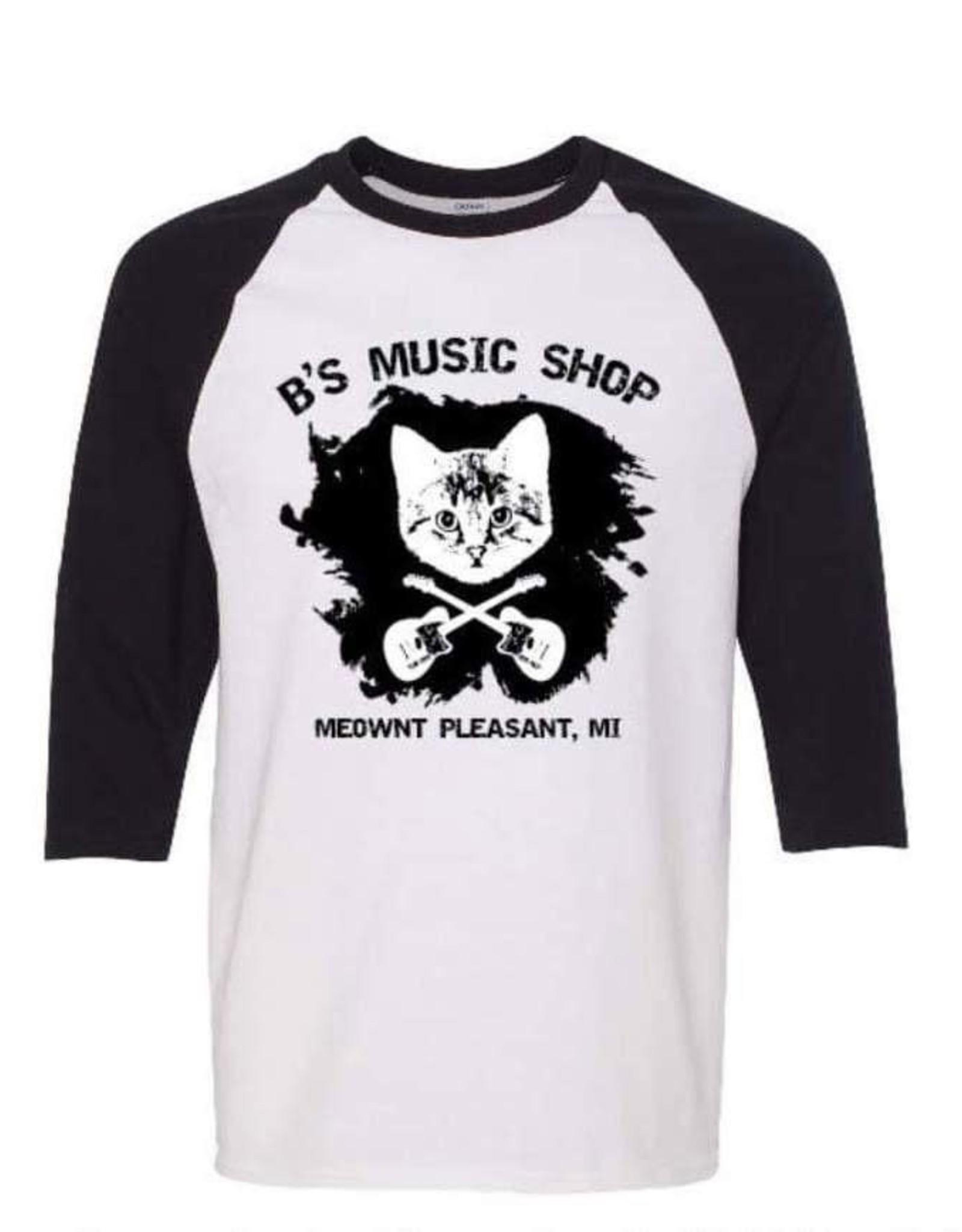 Clothing B's Music Shop Danger Cat Baseball T-Shirt