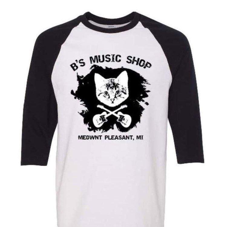 B's Music Shop Danger Cat Baseball T-Shirt