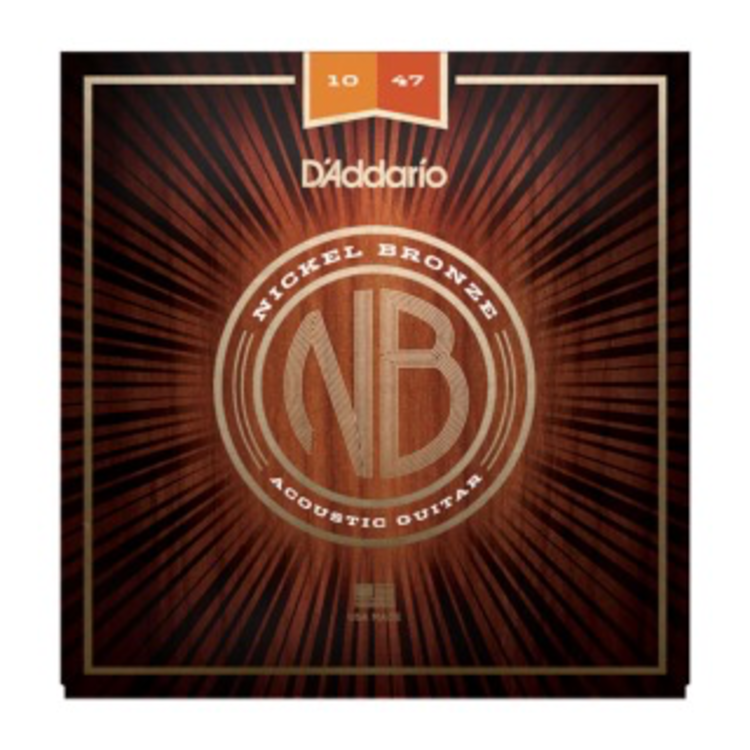 D'Addario D'Addario Nickel Bronze Acoustic Guitar Strings, Extra Light, 10-47