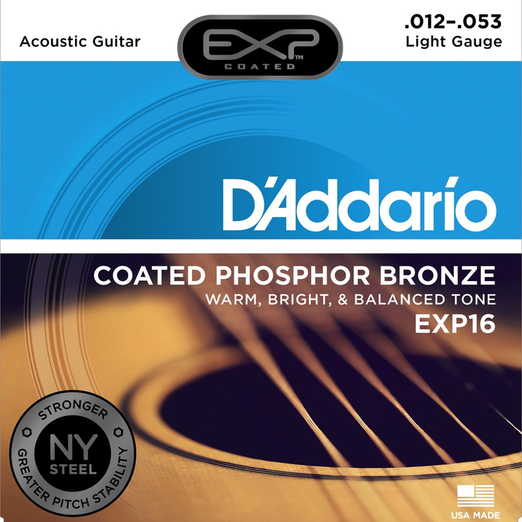 D'Addario D'Addario EXP16 Coated Phosphor Bronze Acoustic Guitar Strings, Light, 12-53