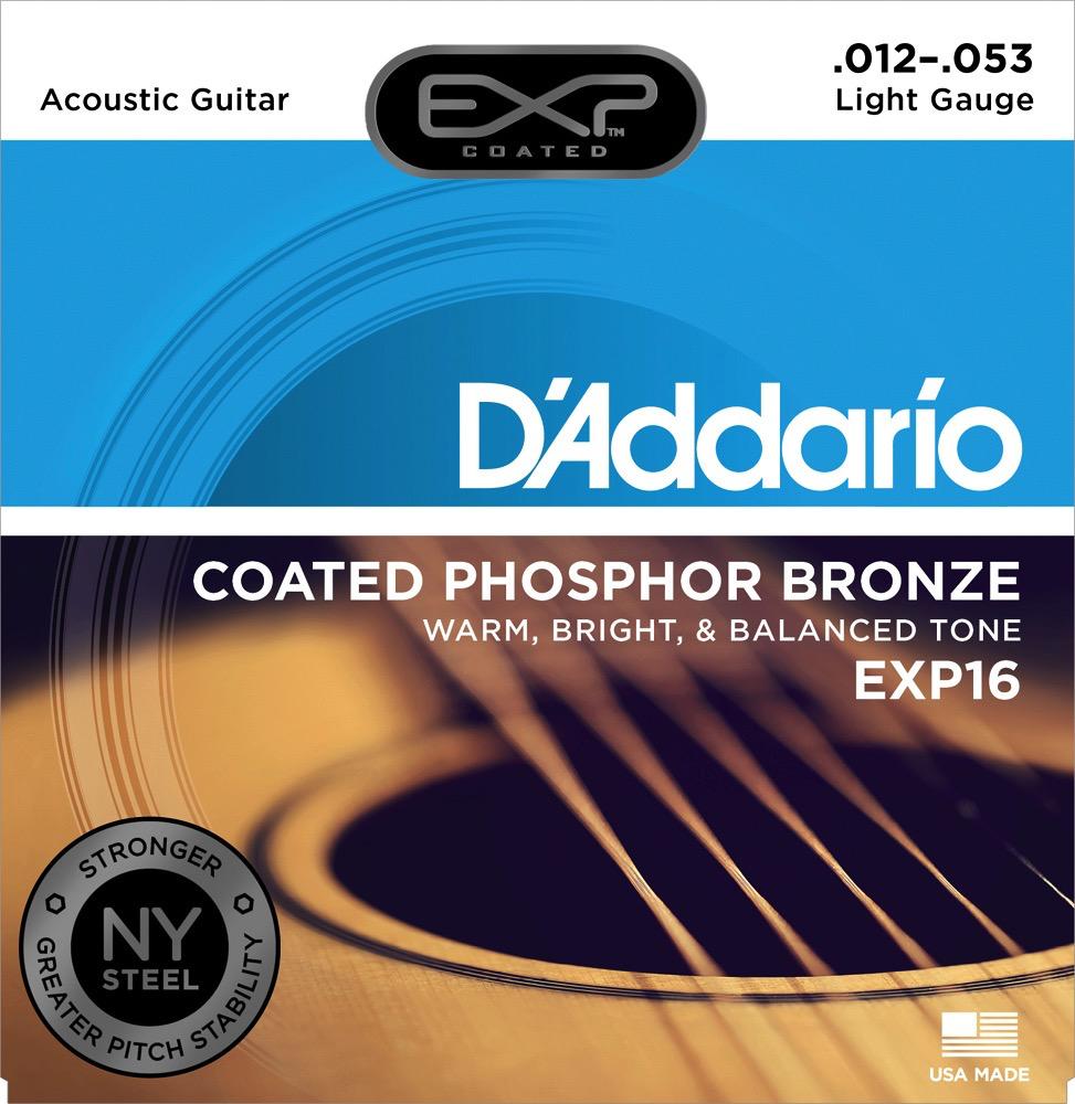 D'Addario D'Addario EXP Coated Phosphor Bronze Acoustic Guitar Strings 12-53