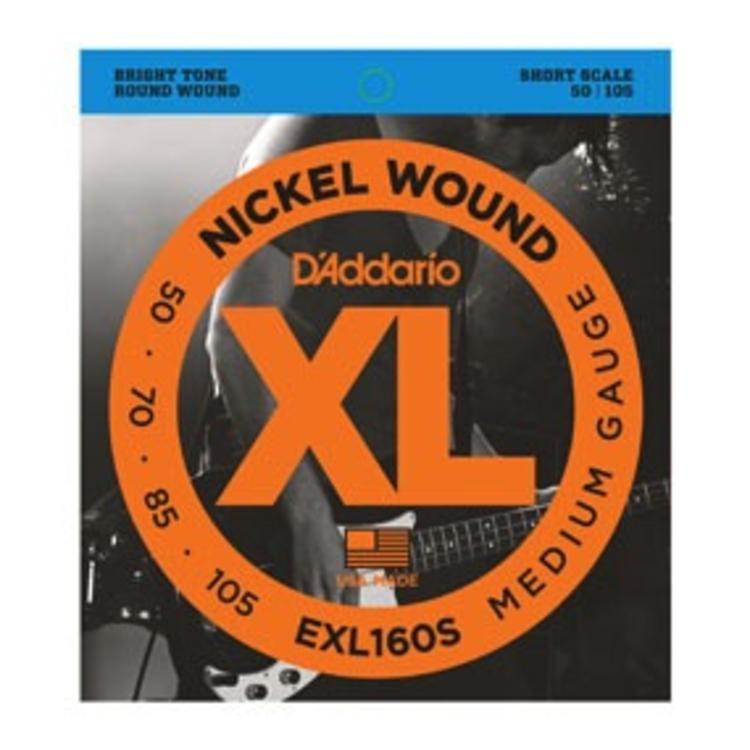 D'Addario D'Addario EXL160S Nickel Wound Bass Guitar Strings, Medium, 50-105, Short Scale