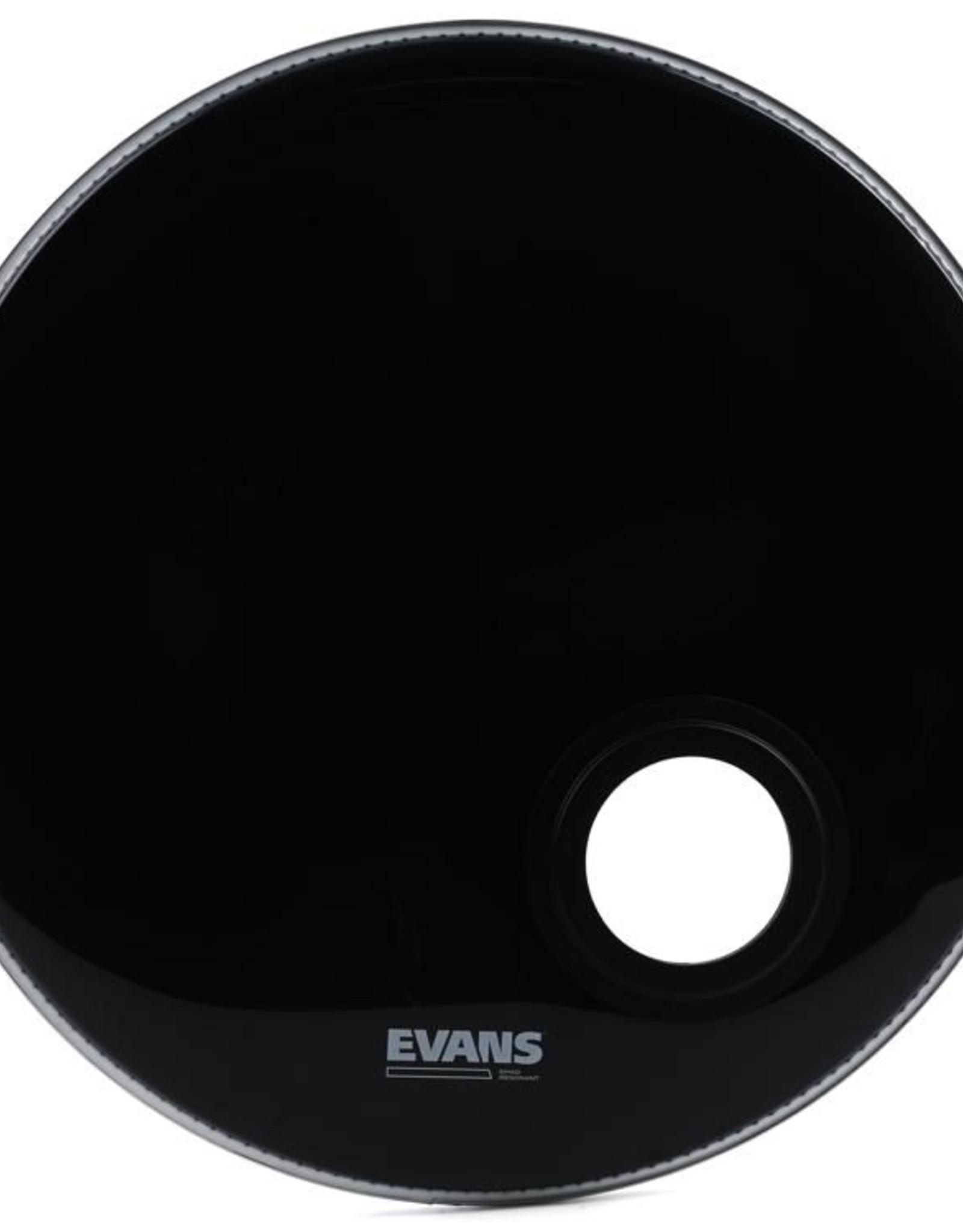 "Evans Evans EMAD 22"" Resonant Black Bass Drum Head w/4"" Microphone Port"