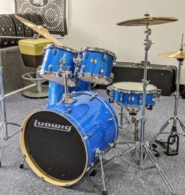 "Ludwig Ludwig 22"" Evolution Outfit w/Hardware & ZBT Cymbal Pack — Blue Sparkle"