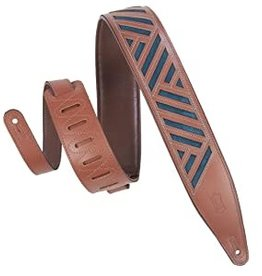 """Levy's Levy's 2 1/2"""" Chrome-tan Leather Guitar Strap With Garment Leather Backing and Suede Insert Embedded Under Cut Out Design. Padded and Adjustable from 46"""" to 60"""".Walnut Chrome-tan Color with Emerald Suede. Contrast Stitching."""
