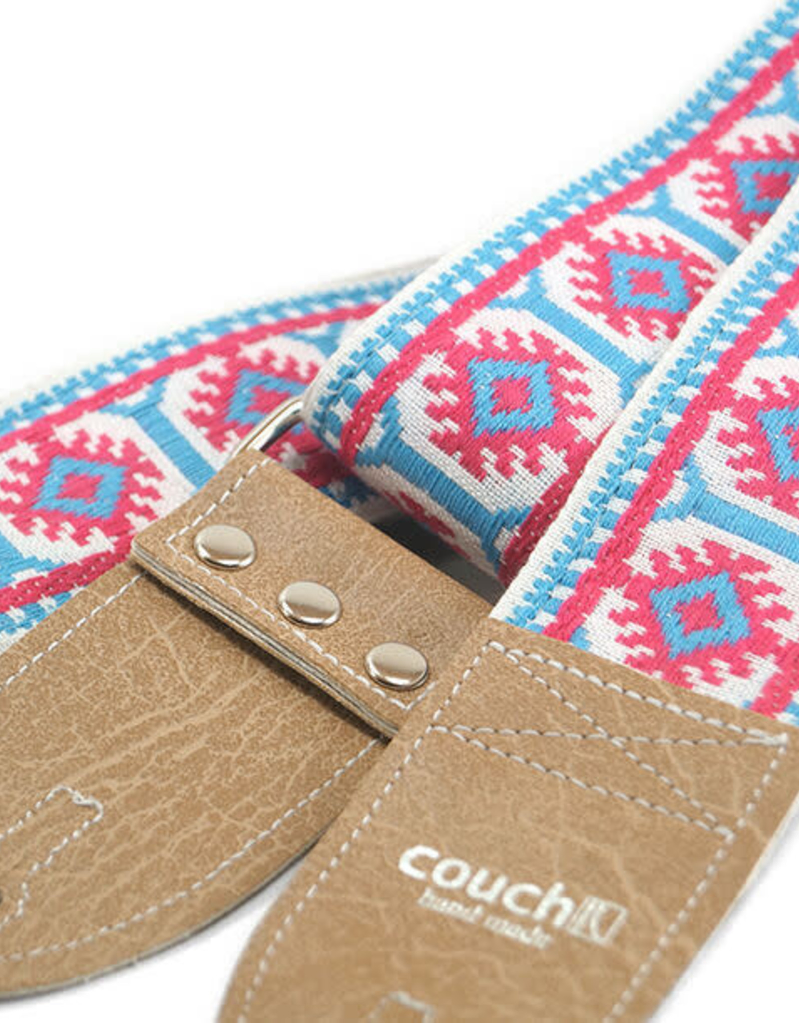 Couch Straps Couch Straps The Couch Imagining Sun Vintage Hippie Weave Boho Guitar Strap - Pink and Sky