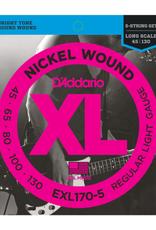 D'Addario D'Addario EXL170-5 5-String Nickel Wound Bass Guitar Strings, Light, 45-130, Long Scale