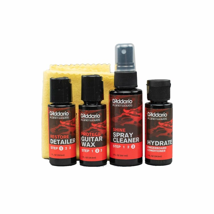 D'Addario D'Addario Instrument Care Essentials (Shine, Protect, Restore, Hydrate, and Polishing Cloth)