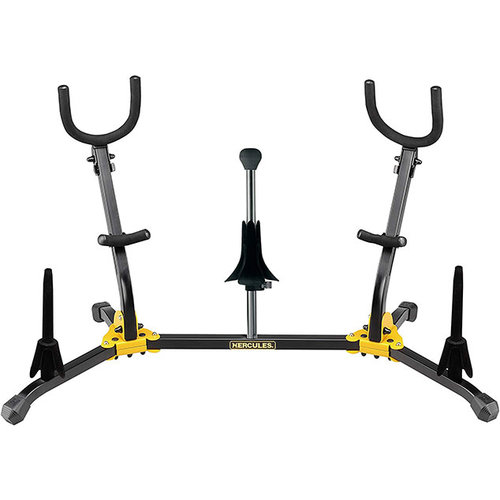 Hercules Hercules Duo Alto/Tenor Saxophone Stand with 2 Clarinet/Flute Pegs and 1 Soprano Saxophone Peg