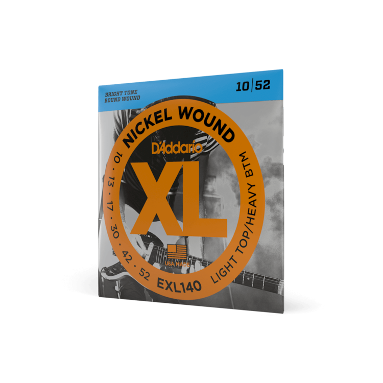 D'Addario D'Addario EXL140 Nickel Wound Electric Guitar Strings, Light Top/Heavy Bottom, 10-52