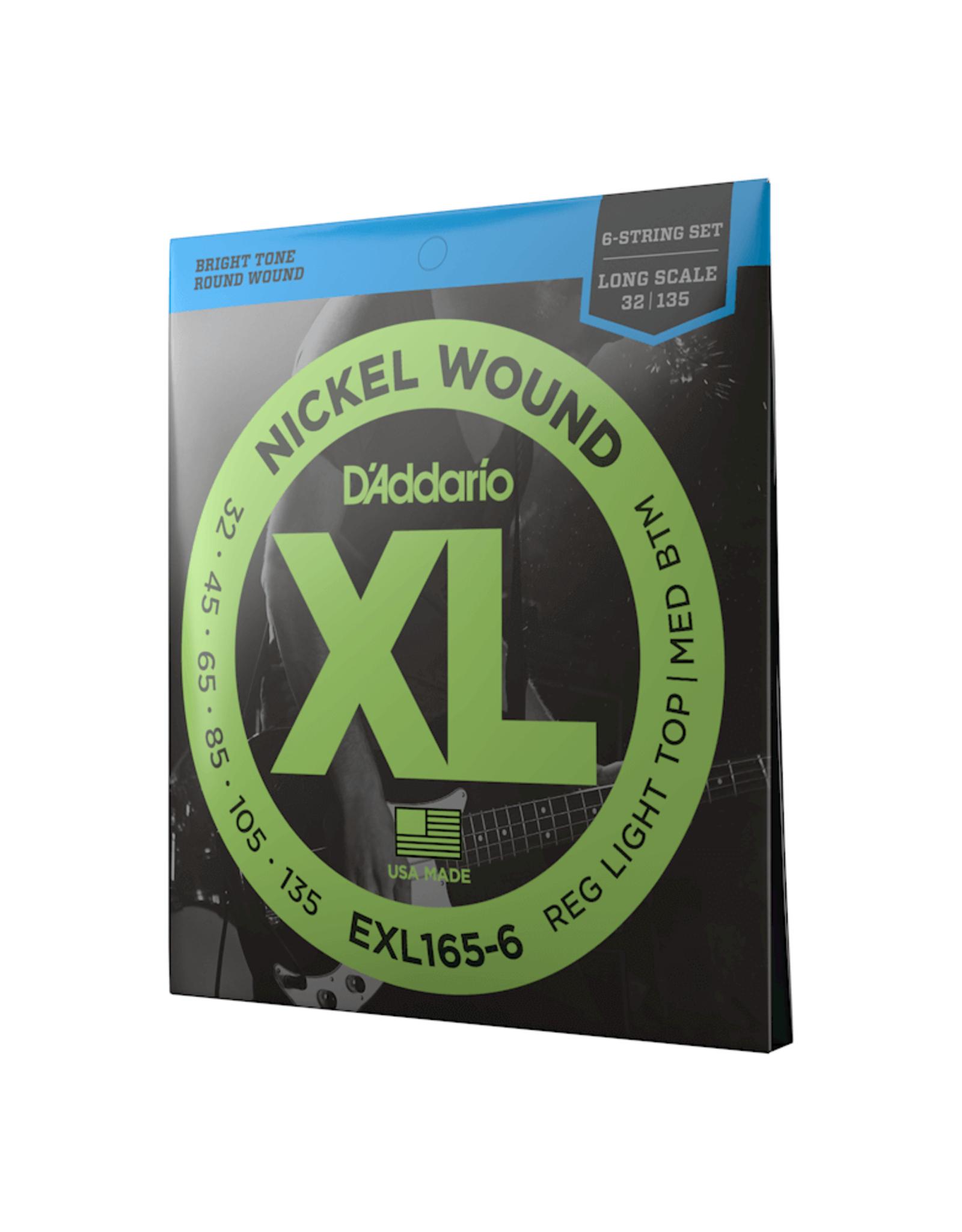 D'Addario D'Addario EXL165-6 6-String Nickel Wound Bass Guitar Strings, Custom Light, 32-135, Long Scale