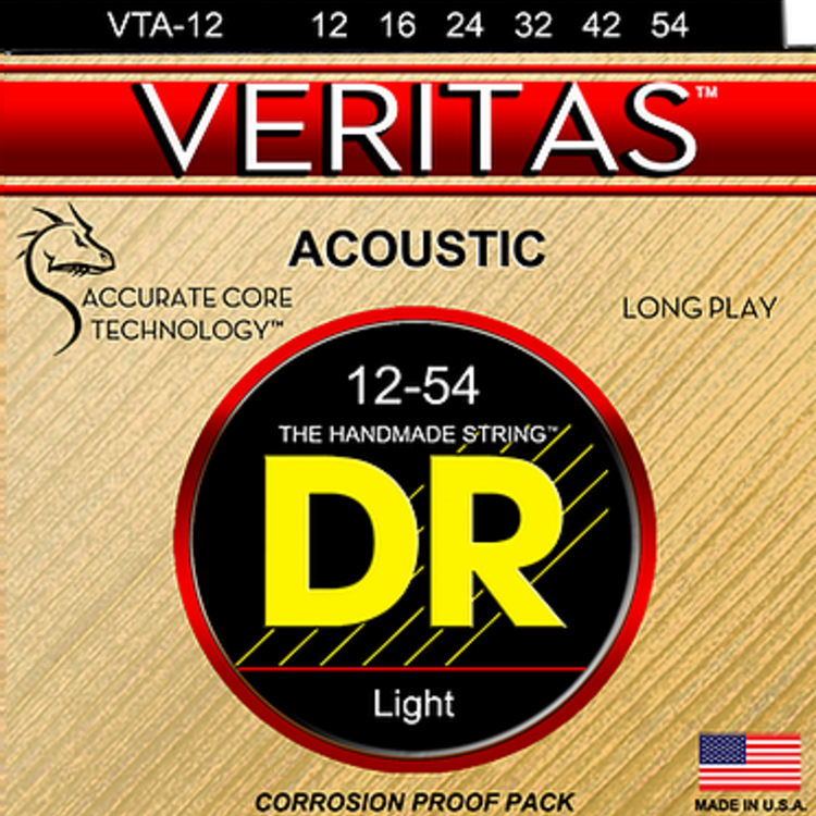 DR DR VERITAS™ - Coated Core Technology Acoustic Guitar Strings: Light 12-54