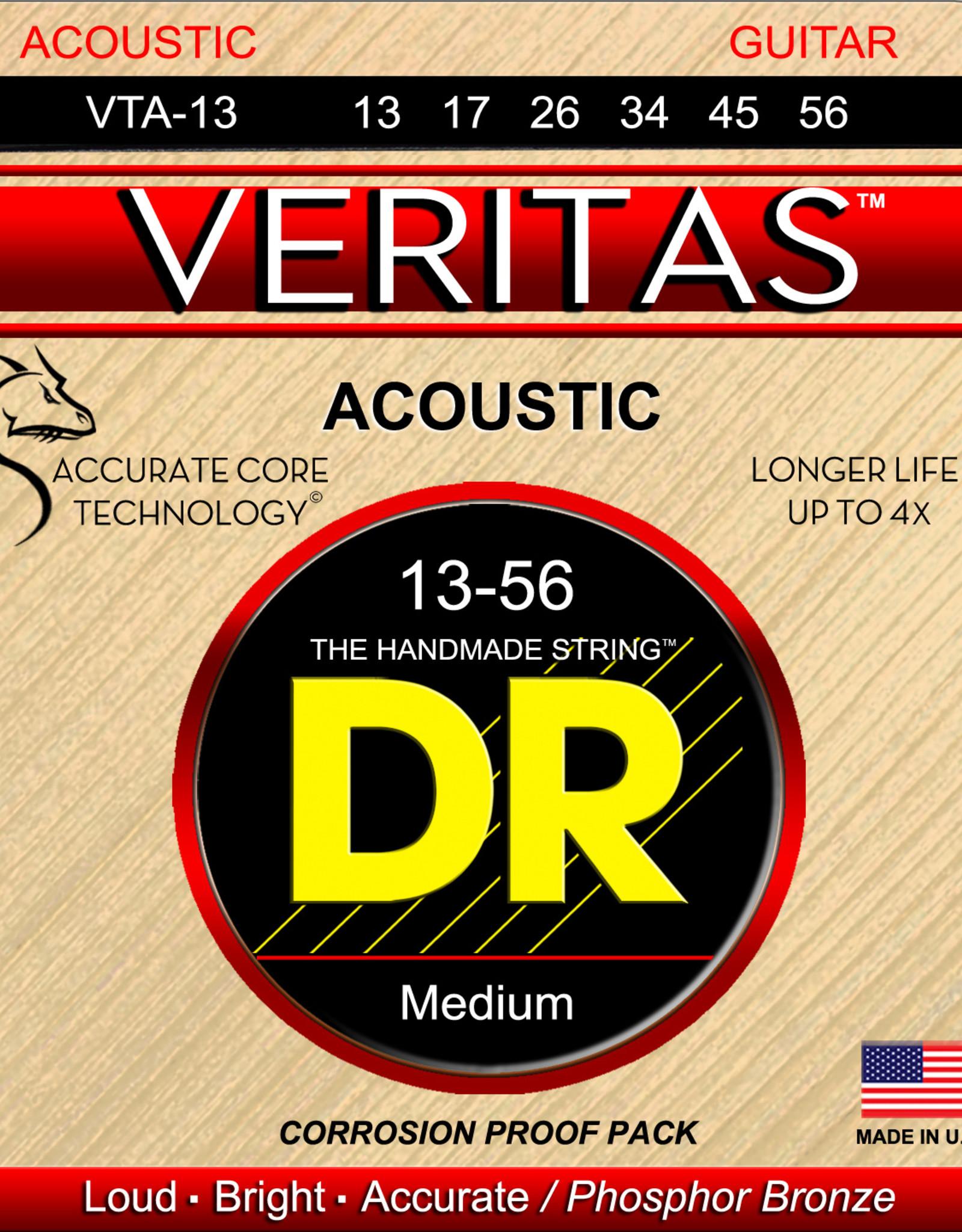 DR DR VERITAS™ - Coated Core Technology Acoustic Guitar Strings: Medium 13-56
