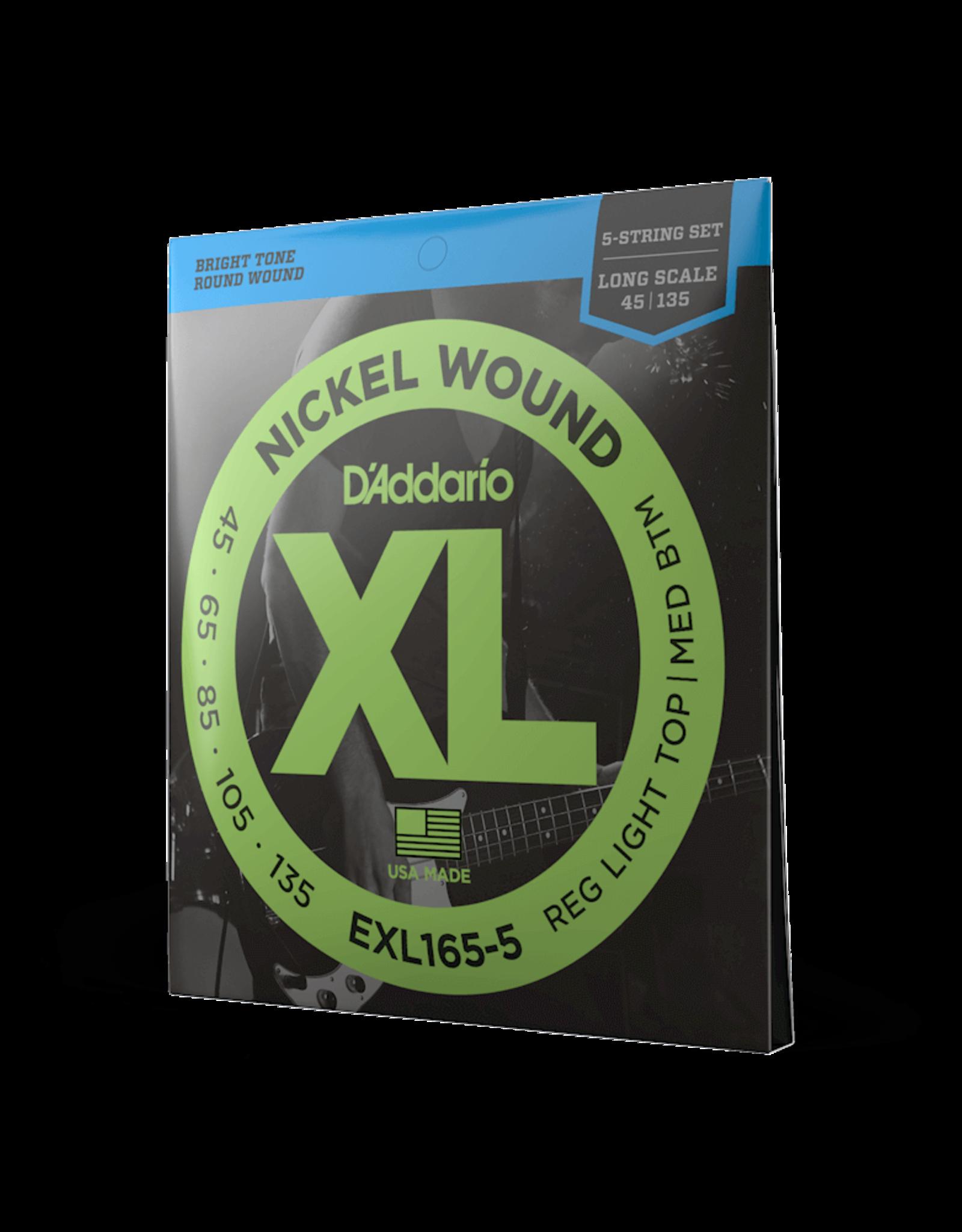 D'Addario D'Addario EXL165 5-String Nickel Wound Bass Guitar Strings, Custom Light, 45-135, Long Scale