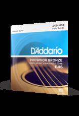D'Addario D'Addario EJ16 Phosphor Bronze Acoustic Guitar Strings, Light, 12-53
