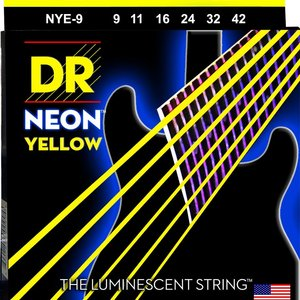 DR DR HI-DEF NEON™ - YELLOW Colored Electric Guitar Strings: Light 9-42