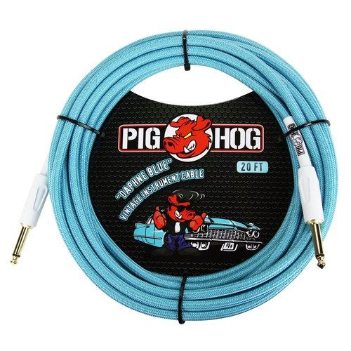 "Pig Hog Pig Hog ""Daphne Blue"" Instrument Cable, 20ft Right Angle"