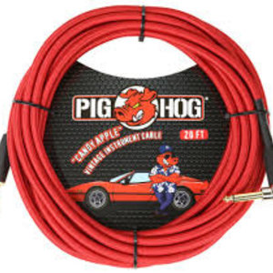 """Pig Hog Pig Hog """"Candy Apple Red"""" 20 ft Right Angle Guitar Cable"""