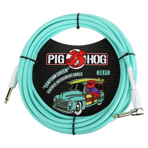 "Pig Hog Pig Hog ""Seafoam Green"" Instrument Cable, 20ft Right Angle"