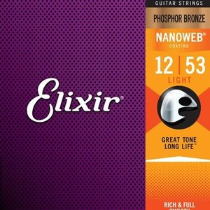 Elixir Elixir NanoWeb Phosphor Bronze .012-.053 Lt Acoustic Guitar Strings