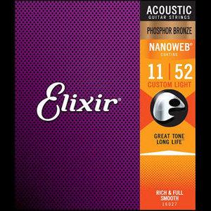 Elixir Elixir Phosphor Bronze Nanoweb Acoustic Guitar Strings - Custom Light 11-52
