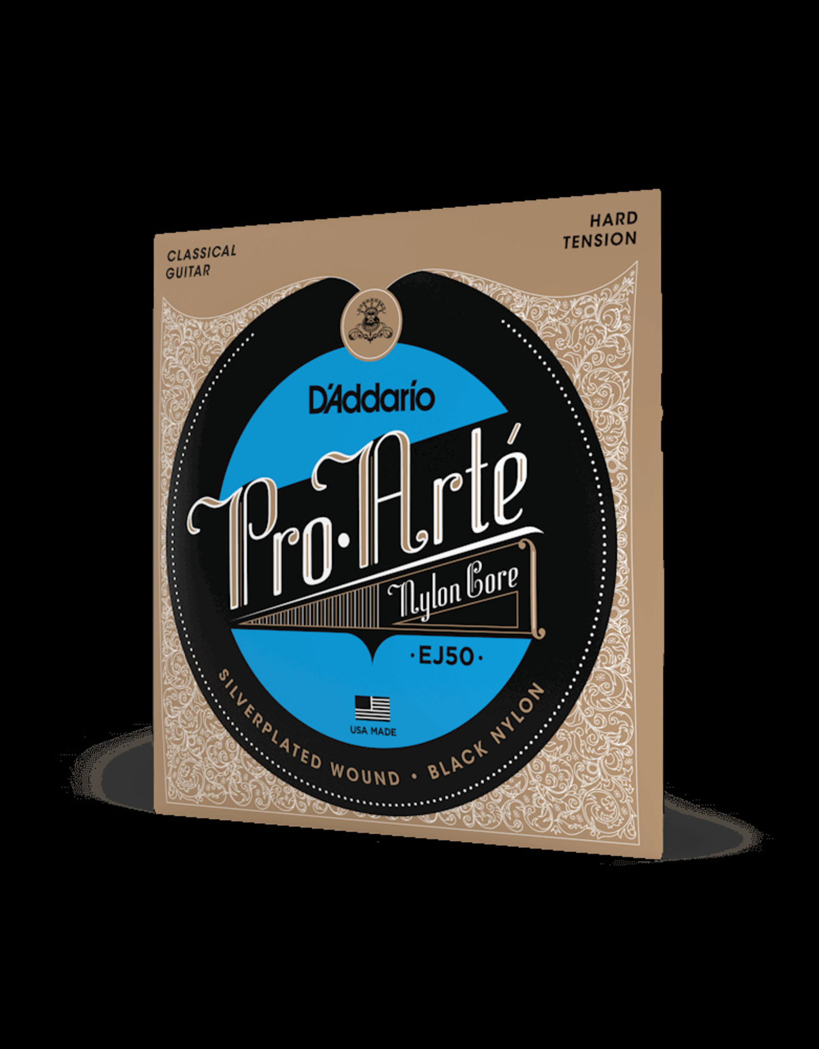 D'Addario D'Addario Classical Hard Tension, Silverplated Wound, Black Treble EJ50 Strings