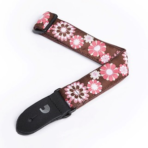 D'Addario D'Addario Woven Ukulele Strap, Pink and Brown Flowers