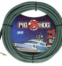 "Pig Hog Pig Hog ""Tahitian Blue"" Instrument Cable, 20ft Right Angle"