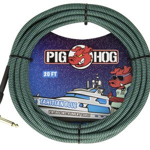 """Pig Hog Pig Hog """"Tahitian Blue"""" Instrument Cable, 20ft Right Angle"""