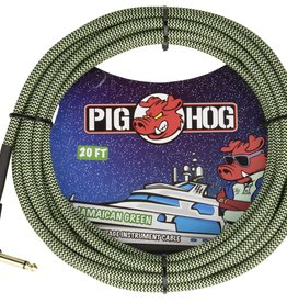 "Pig Hog Pig Hog ""Jamaican Green"" Instrument Cable, 20ft Right Angle"