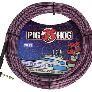 """Pig Hog Pig Hog """"Riviera Purple"""" Instrument Cable, 20ft Right Angle"""