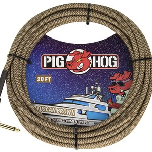 """Pig Hog Pig Hog """"Tuscan Brown"""" Instrument Cable, 20ft Right Angle"""