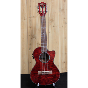 Lanikai Lanikai Quilted Maple Red Cutaway Electric Tenor Ukulele w/Gig Bag