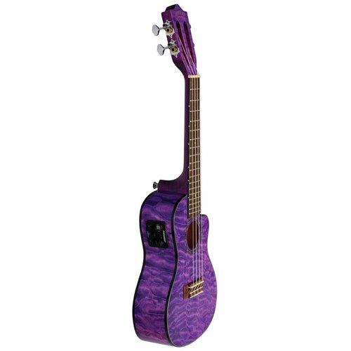 Lanikai Lanikai Quilted Maple Purple Cutaway Electric Concert Ukulele w/Gig Bag