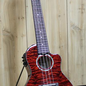 Lanikai Lanikai Quilted Maple Red Cutaway Electric Concert Ukulele w/Foam Case