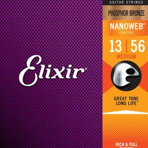 Elixir Elixir Phosphor Bronze Nanoweb Acoustic Guitar Strings - Medium 13-56