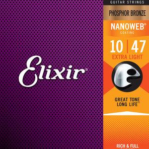 Elixir Elixir Phosphor Bronze Nanoweb Acoustic Guitar Strings - Extra Light 10-47