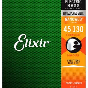 Elixir Elixir Nanoweb 5-String Nickel Plated Steel Bass Guitar Strings - Long Scale Light 45-130