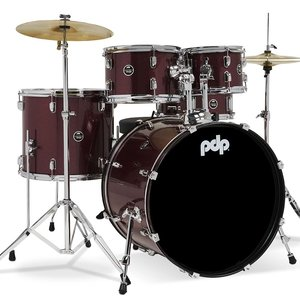 """PDP PDP Center Stage 5 Piece Drum Set (22"""" Kick) w/Cymbals - Ruby Red"""