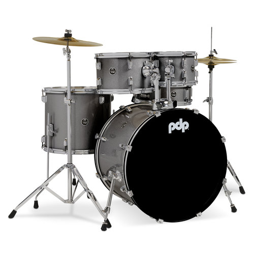 """PDP PDP Center Stage 5 Piece Drum Set (22"""" Kick) w/Cymbals - Silver Sparkle"""