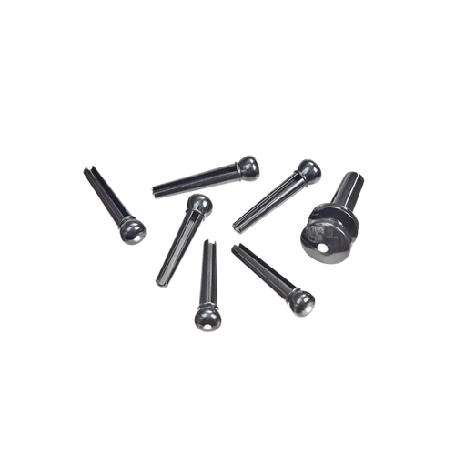 D'Addario D'Addario Injected Molded Bridge Pins with End Pin Set, Ebony with Ivory Dot